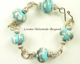 Silver Bracelet of Turquoise & Ivory Lampwork Beads