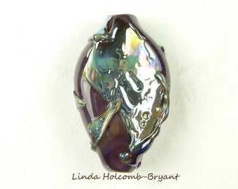 Dark Purple Base Lampwork Glass Double Helix Focal Bead