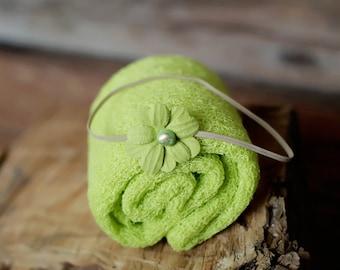 Lime Green Newborn Wrap Set, Baby Girl Photography Prop Set, Green Newborn Headband, Knit Stretch Newborn Wrap, Green Baby Wrap Set