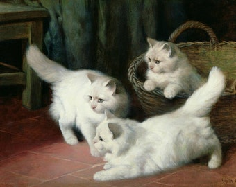 Three White Angora Kittens - Cross stitch pattern pdf format