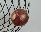 holiday ornament red gold Christmas ornament holiday decoration ooak ornament handmade ornament tree decoration hanging decoration victorian