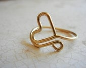Gold Heart Ring, Adjustable Ring, Gold Filled Jewelry, Heart Ring