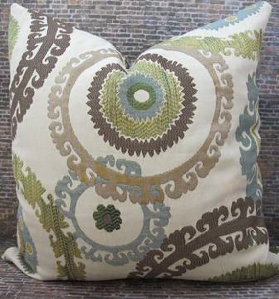 Designer Pillow Cover 18 x 18 - Suzani Embroidered Spring