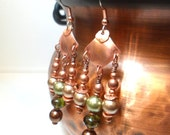 Chandelier Earrings - Hand Cut Copper with Green Czech Glass and Swarovski Pearls