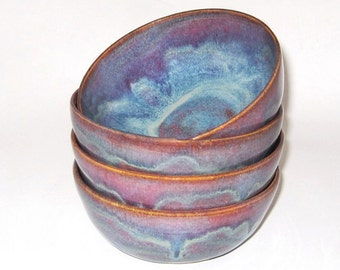 Ceramic Bowl, Soup Bowl, Cereal Bowl, Salad Bowl, Snack Bowl in Maroon, Blue, Purple, Plum, Bowl Set, Wheel Thrown Pottery