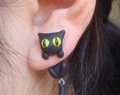 Clinging Cute Black Cat Two-Part Earrings