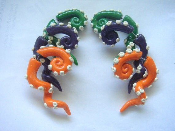 Fake Gauge Tentacle Earrings Polymer Clay MADE TO ORDER