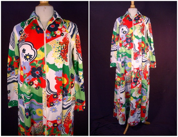 Vintage 70s Bill Tice Robe-Trapeze Swing Zip Front by1960s Malcolm Starr Designer-Peter Max Style Print-For Size Sm - Med - Lg Diamond Lucy