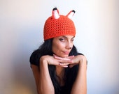 Fox hat - adult costume halloween tangerine white black animal  beanie