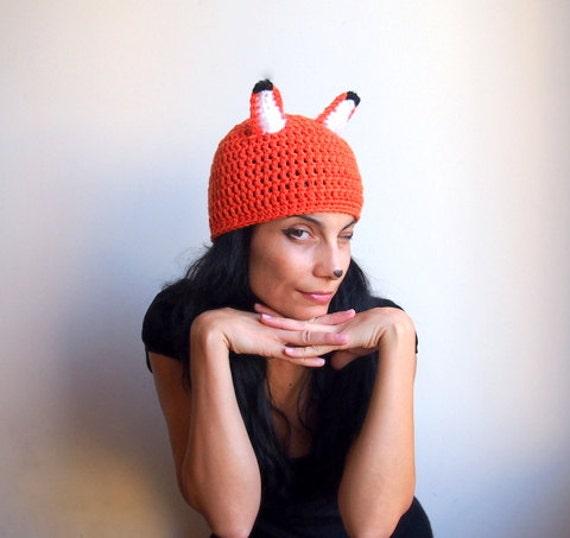 Fox hat - adult costume halloween tangerine white black animal  beanie