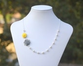 Dainty Grey and Yellow Roses in Swarovski Pearl Asymmetrical Floral Necklace.  Yellow and Gray Wedding Jewelry.