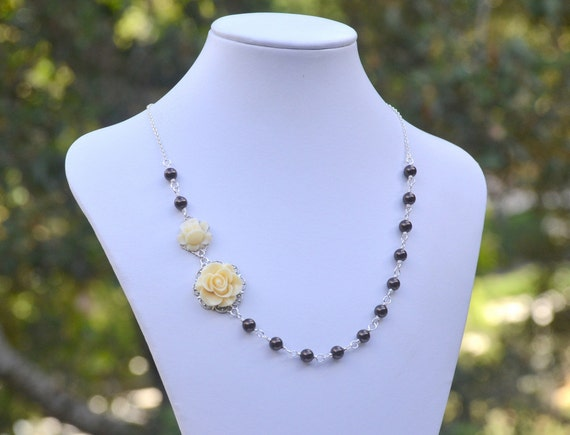 Dainty Ivory Roses in Asymmetrical Necklace with Deep Brown Swarovski Pearl Necklace.  Ivory Brown Bridal Jewelry.