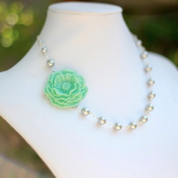 Mint blue green flower and light gray swarovski pearl by rusticgem - Light blue and mint green ...