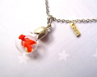 Necklace Zen Goldfish. Miniature in Bottle. Terrarium necklace.
