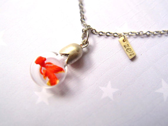 Necklace Zen Goldfish. Miniature in Bottle. Terrarium necklace.