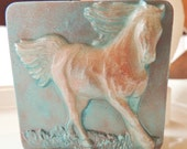 HORSE SOAP, Wild Horses in Copper & Patina, Scented in Mandarin Spice, Running Horses, Novelty Soap, Party Favor, Vegetable Based, Handmade