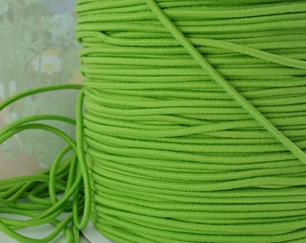 5yds Elastic Thin Bands 2mm - Lime Green Elastic Cords String Headbands Wristbands Elastic by the yard