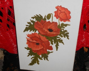 Boho retro vintage 9x12 painting of three big red poppies on canvas