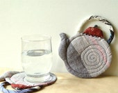 QUILTED Teapots, Purple Grey COASTERS, Home Decoration
