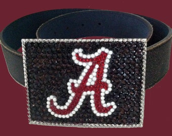 Alabama Crimson Tide Swarovski Crystal Belt Buckle