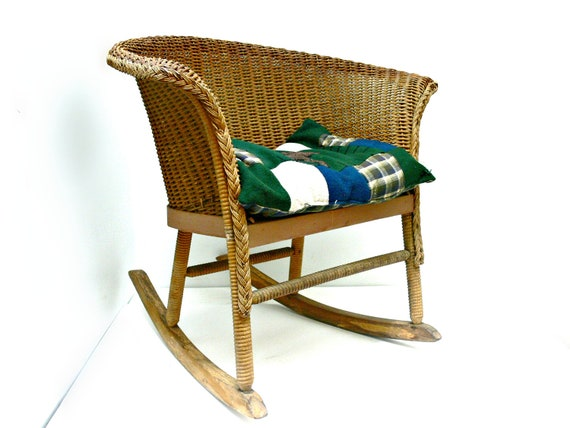 Child S Rocking Chair Vintage Wicker Rocker Rustic