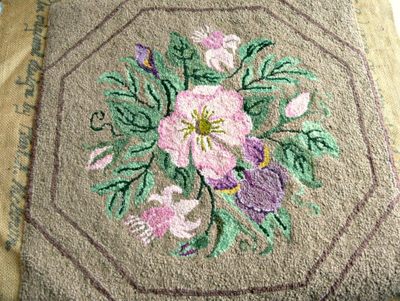 RESERVED for T: Vintage Hooked Rug Panel by Pearl McGown Designs - Mid Century - Pink Floral on Brown