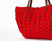 red summer bag- Handbag Celebrity Style With Genuine Leather Straps / Handles shoulder bag-crochet bag-hand made
