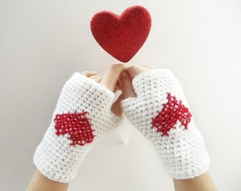 White Fingerless gloves Crochet, Arm Warmers,Crochet fingerless gloves,Handmade Crocheted Gloves For Her Fashion Accessories Valentine's Day
