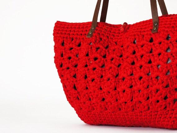 red summer bag- Handbag Celebrity Style With Genuine Leather Straps / Handles shoulder bag-crochet bag-hand made
