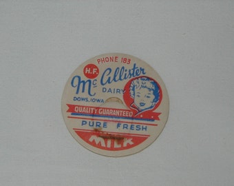 Vintage Milk Bottle Lids x 10, McCallister Dairy, Dows Iowa