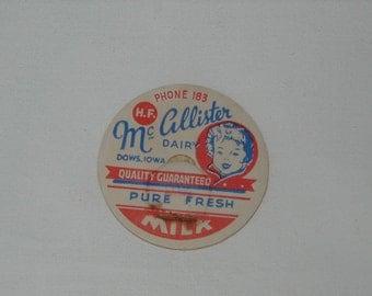 Vintage Milk Bottle Lids x 10, McCallister Dairy, Dows Iowa