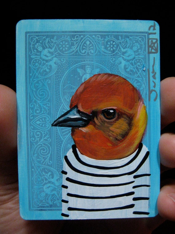 Flame-colored Tanager portrait N1 on a playing cards. Original acrylic painting. 2012