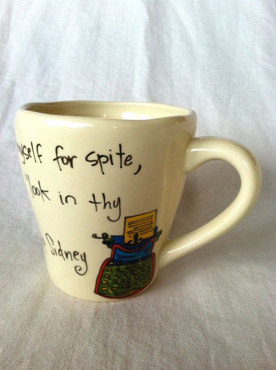 "Sir Philip Sidney ""Look in thy heart and write"" Literary Quote Mug - Large, cream coffee cup with typewriter, quill, and ink"