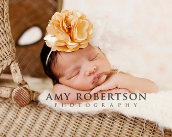HER GRACE HEABAND - Luxury Gold and Creme Feather Fascinator - Preemie to Adult