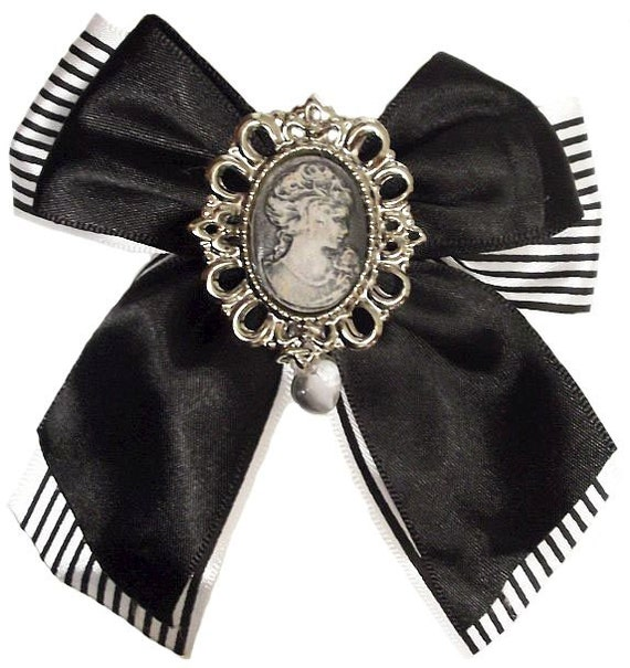 Pinstripe Cameo Victorian Steampunk Hair Bow Fascinator Barrette Clip
