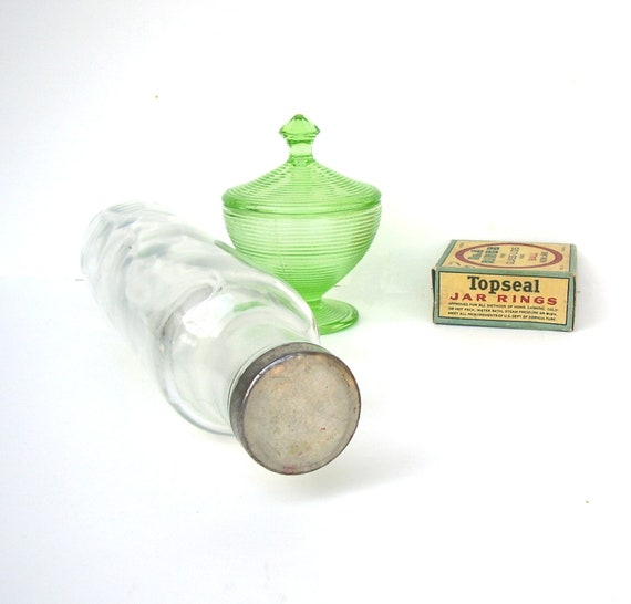 Antique Rolling Pin Glass 1930s Zinc Cap Vintage kitchen
