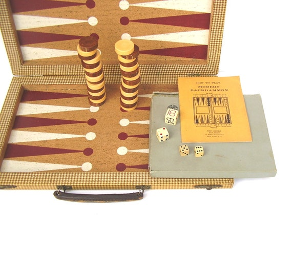 Vintage Backgammon Set 1930s Bakelite Chips Marble Brown Butterscotch