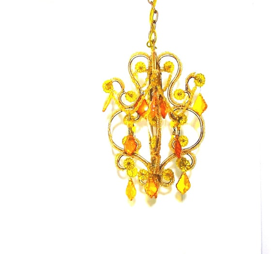 Vintage chandelier gold glass crystals Hanging swag lamp Plug  in