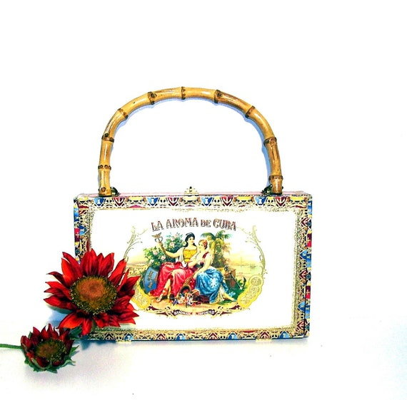 Vintage Cigar Box Purse Cuban Cigars Box Handbag Colorful