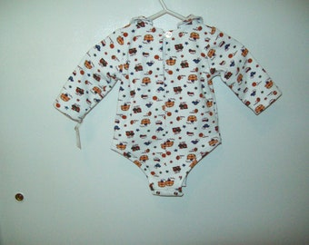 Onesie, Boys Toys, Print,  Long Sleeves, Newborn Size 7 to 13 pounds, Ready to Ship, Clearance Sale