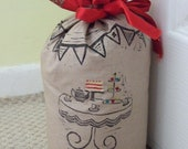 Hand Printed Tea party and Bunting Cotton Doorstop