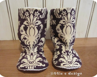 SALE** Damask baby boots - plum and cream - infant to toddler - non slip sole, Birthday, Baby Shower Gift, Holiday