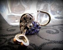 Heart Lock, Embellished heart  lock, working lock, lock and key, Purple Swarovski