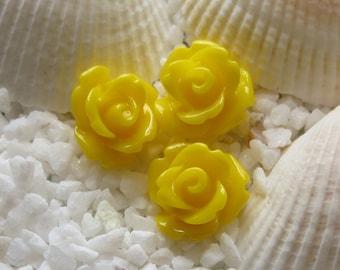 Resin Rose Flower Cabochon 10mm - 50 pcs - Yellow