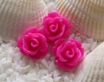 Resin Rose Flower Cabochon 10mm - 50 pcs - Hot Pink