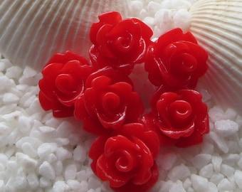 Resin Rose Flower Cabochon 10mm - 50 pcs - True Red