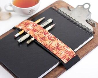 Large Journal Bandolier / Travel light, Draw often / orange bamboo