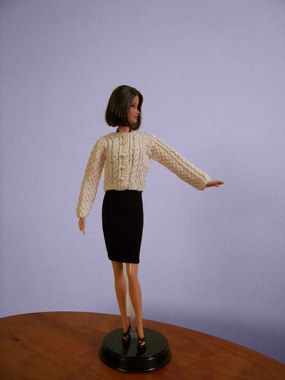 Fisherman cable sweater knit in cream colored silk for Barbie