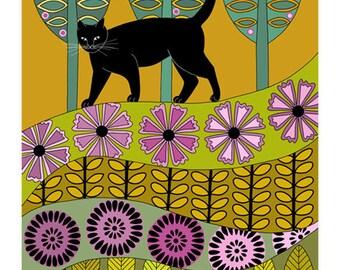 Art illustration, Folk art, Black cat art, 10 x 8, Animal art print, Wall art, Modern art, Contemporary art, Gold green lilac, Cat and bird