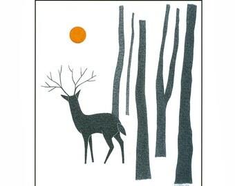 Art print of deer, 10 x 8 deer drawing, Illustration art deer in forest,  Pen and ink deer, Ink drawing deer, Animal art, Scandinavian Art
